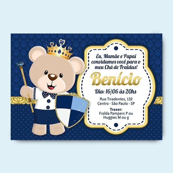 Convite Chá De Bebê Ursinho Principe