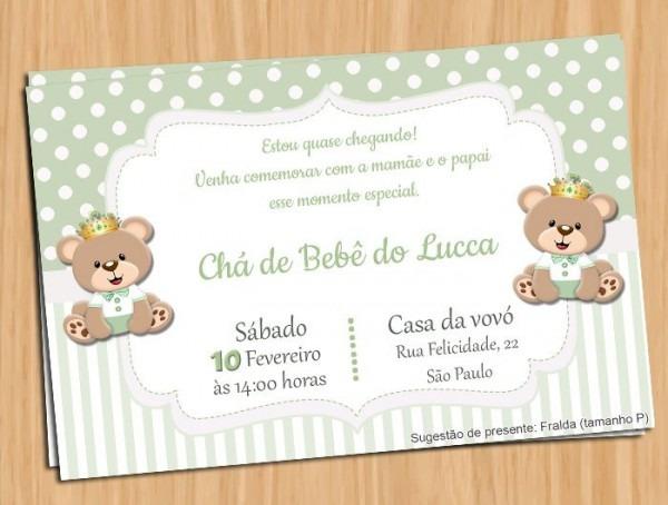 Convite Chá De Bebê Ursinho Verde