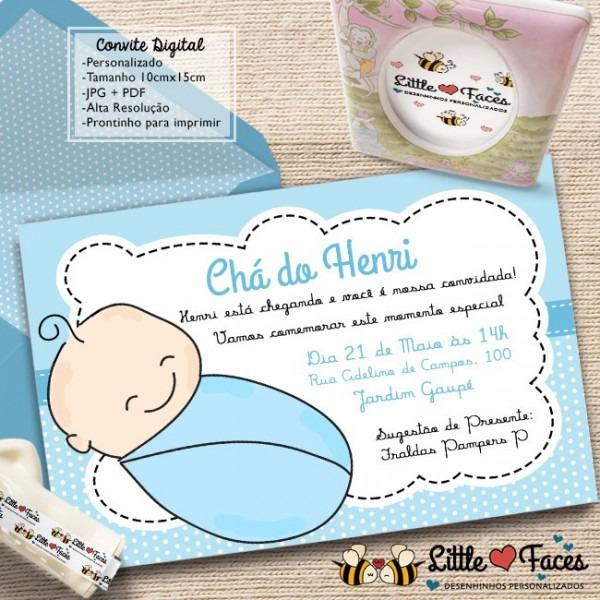 Convite Chá De Bebê Menino Para Imprimir No Elo7