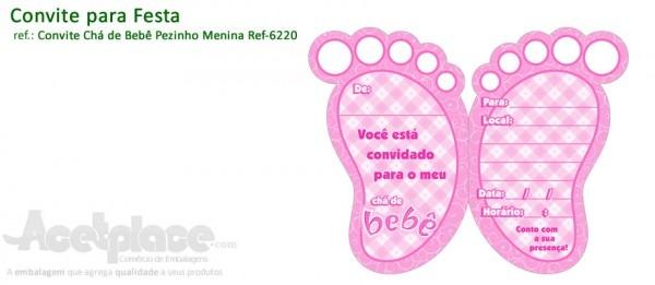Acetplace, Convite Chá De Bebê Pezinho Menina Ref