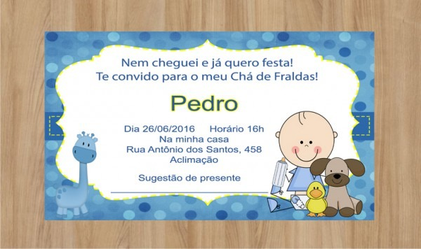 Convite Cha De Fralda Menino