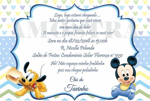 Convite Chá De Fraldas Mickey Baby