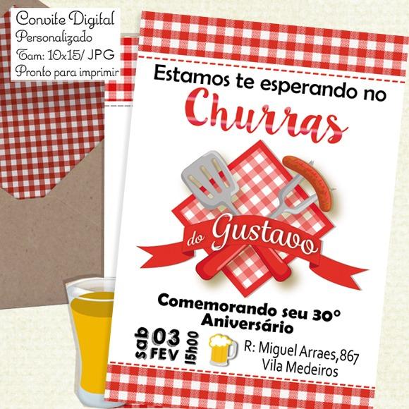 Convite Churrasco (digital) No Elo7