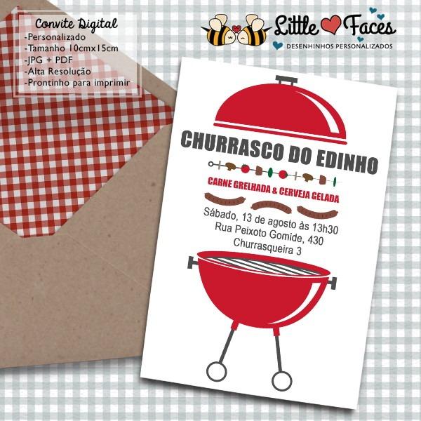 Convite Churrasco Digital No Elo7