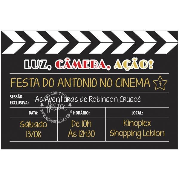 Convite Festa Cinema Para Imprimir