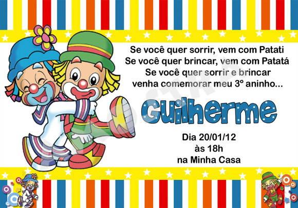 Convite Circo Patati E Patatá (digital) No Elo7