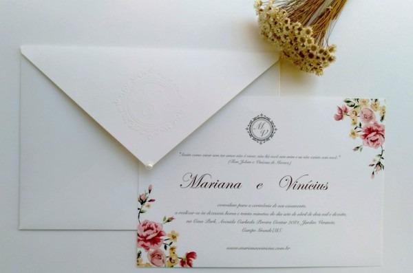 Convite Casamento Com Forro E Brasão Ref 607