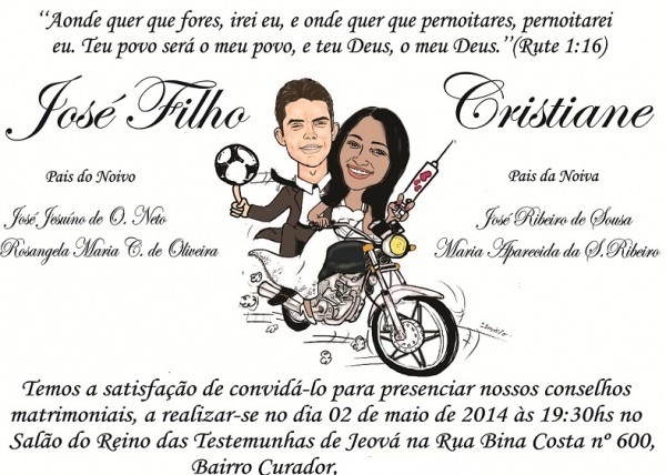 Convite Virtual Casamento Com Caricatura Dos Noivos GrÁtis No Elo7
