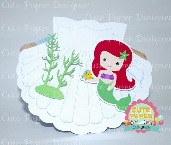 Convite Concha Princesa Ariel No Elo7