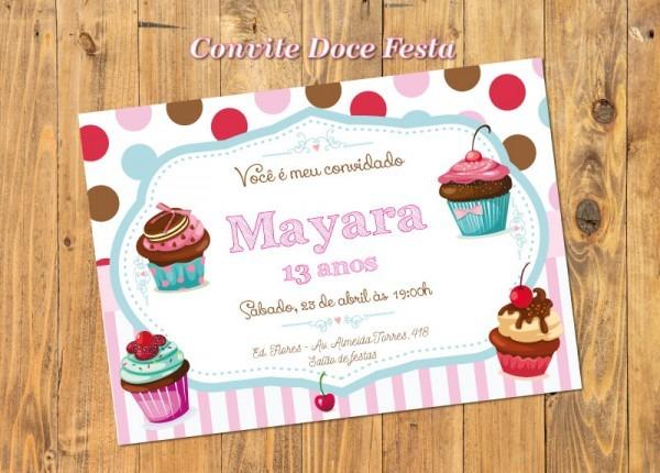 Convite Confeitaria Cupcakes Party Luxo No Elo7
