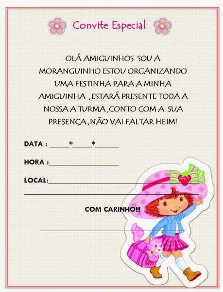 Convite Da Moranguinho Para Imprimir