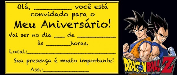 Convite De Aniversario Dragon Ball Z » Happy Birthday World