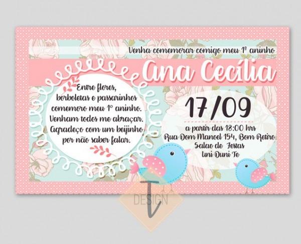 Convite De Aniversário Infantil Menina