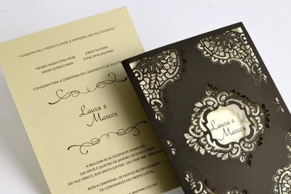 Convites De Casamento Com Corte Laser Laura