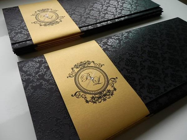 Convite Preto E Dourado No Elo7