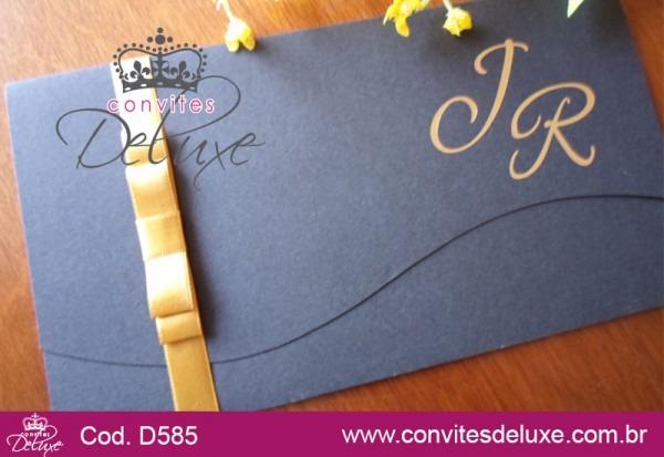 Convite De Casamento Tradicional E Elegante Preto E Dourado