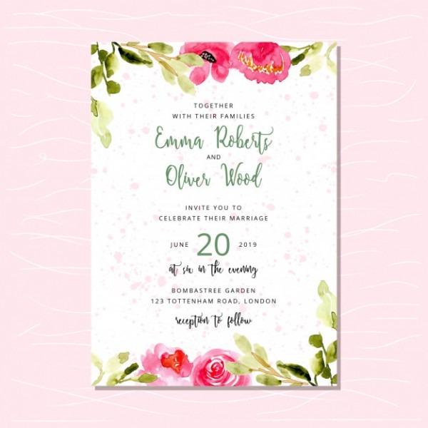 Convite De Casamento Com Borda Aquarela Floral Rosa