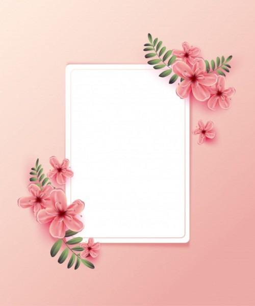 Convite De Casamento Com Flores Da Primavera Em Fundo Rosa