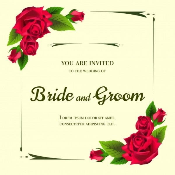 Convite De Casamento Com Rosas Vermelhas Em Fundo Amarelo