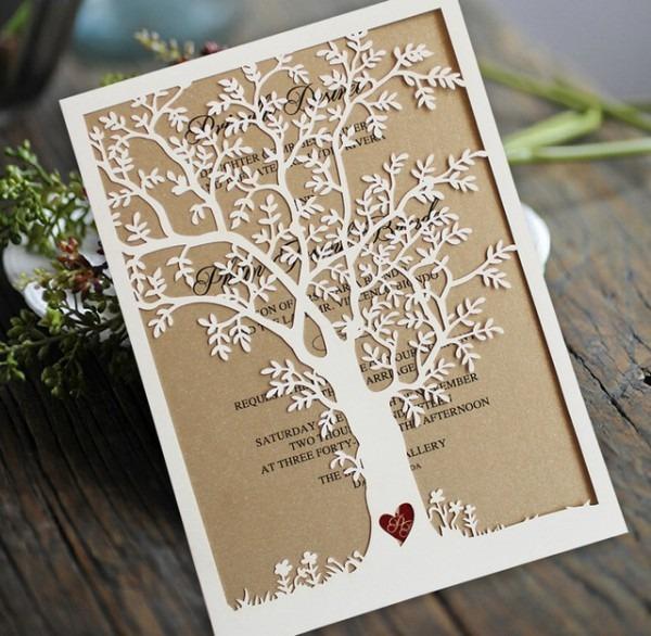 Convite De Casamento De Corte A Laser Árvore, Cartões Do Convite