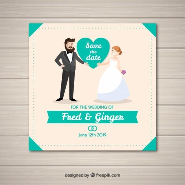 Convite De Casamento Divertido Com Casal Feliz