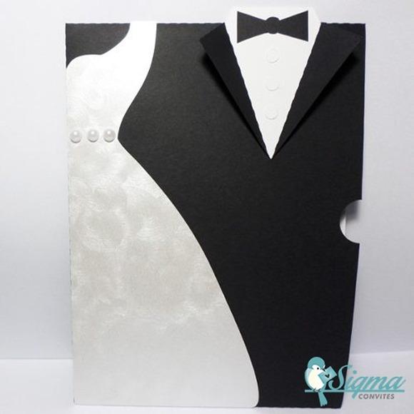 Convite De Casamento Noivos Traje Corte E Papel Especial