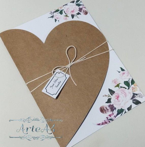 Convite De Casamento Rústico C  Envelope Coração