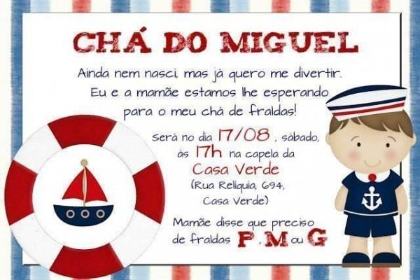 Convite De Chá De Bebê Marinheiro – Modelos De Convite