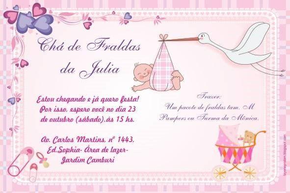 Convite De Chá De Fralda Online – Modelos De Convite