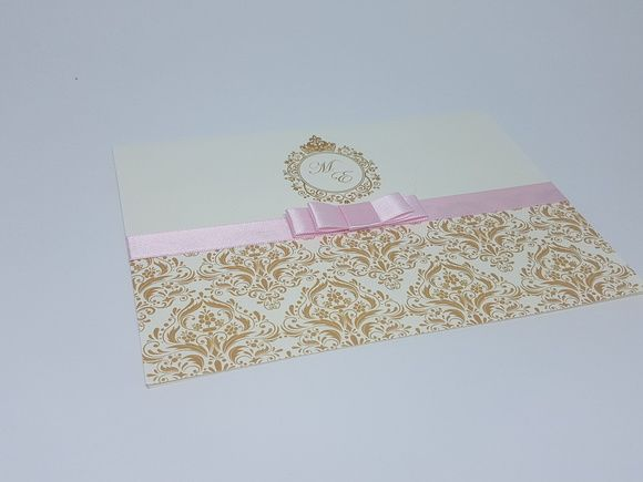 Convite Debutante Dourado E Rosa