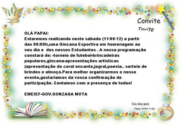 Emeief  Gov  Gonzaga Mota  Convite Dia Dos Pais