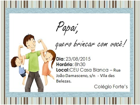 Convite Para O Dia Dos Pais Ed  Infantil E Fund I