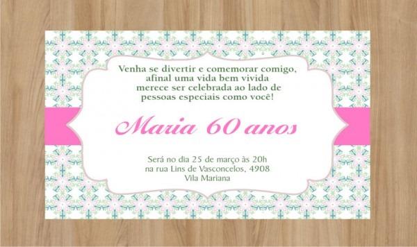 Convite Digital 60 Anos No Elo7