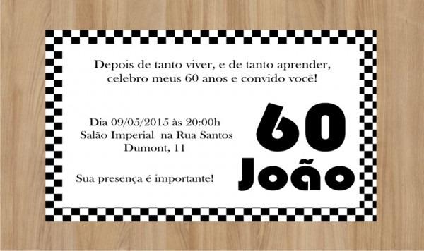 Convite Digital Anos 60 No Elo7