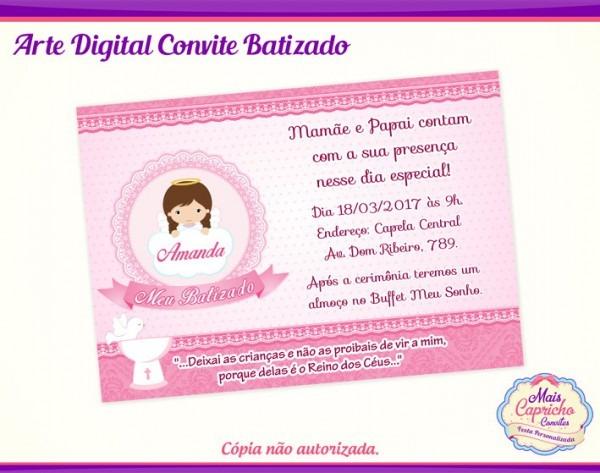 Convite Digital Batizado Menina No Elo7