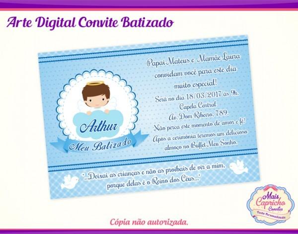Convite Digital Batizado Menino No Elo7