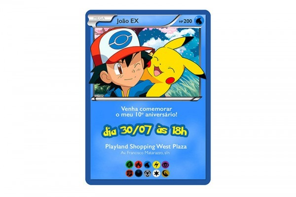 Convite Digital Card Pokemon No Elo7