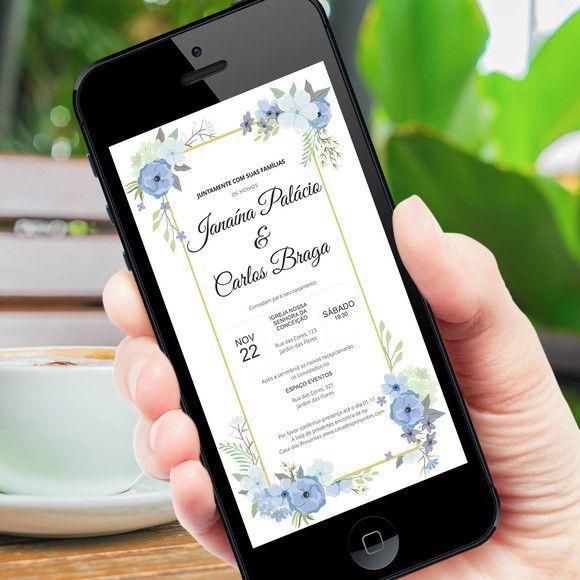 Convite Digital Casamento Floral Azul