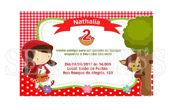 Convite Digital Chapeuzinho Vermelho Impressão, Via Whatsapp
