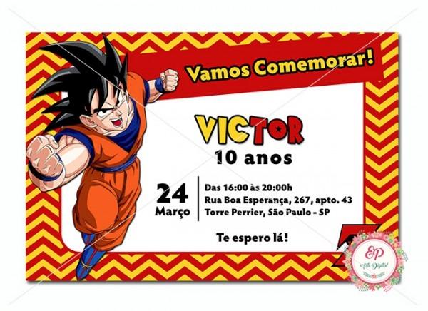 Convite Digital Dragon Ball Z No Elo7