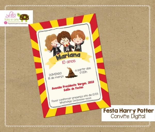 Convite Digital Harry Potter No Elo7
