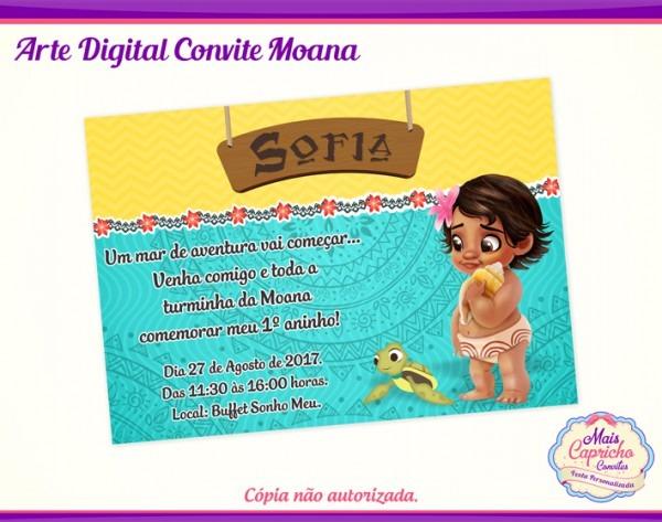 Convite Digital Moana Baby No Elo7