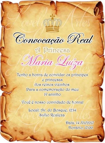 Convite Realeza Pergaminho