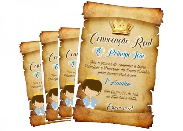 Convite Digital Pergaminho Realeza Príncipe Menino Imprimir