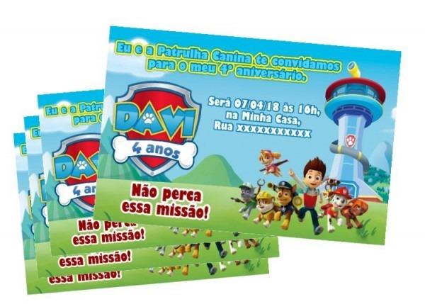 Convite Digital Personalizado Patrulha Canina Zap Imprimir