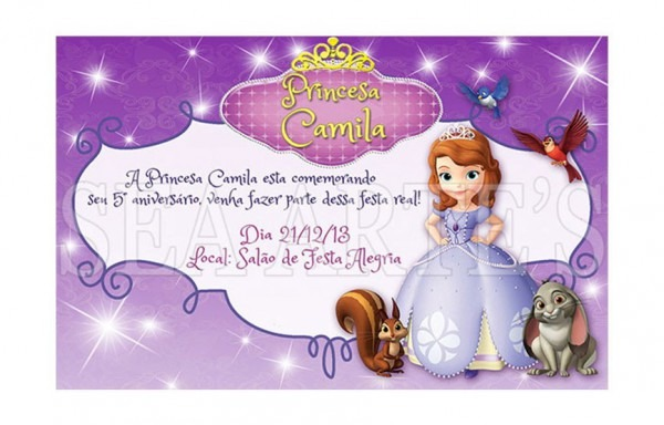 Convite Digital Princesa Sofia P  Impressão Ou Via Whatsapp