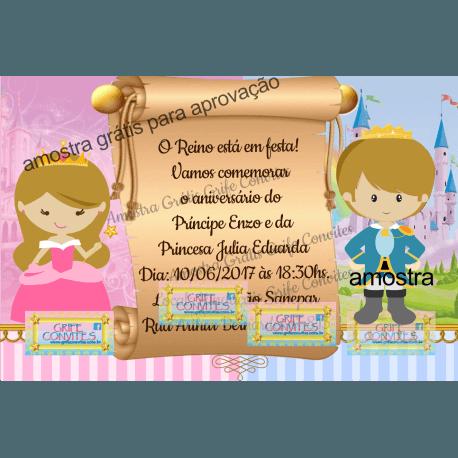 Arte Convite Príncipe E Princesa