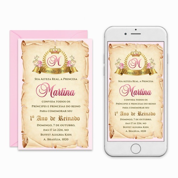 Convite Digital Realeza Primeiro Reinado Pra Imprimir