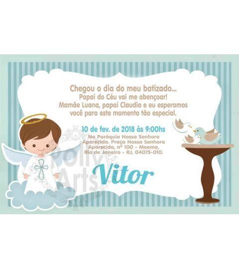 Menino Ou Menina Convite Digital Virtual Batizado Batismo