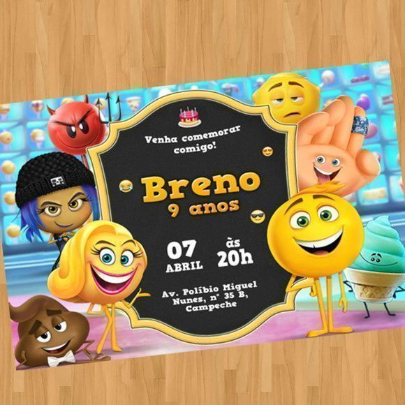 Convite Digital Virtual Emoji O Filme Emojis Emoticons